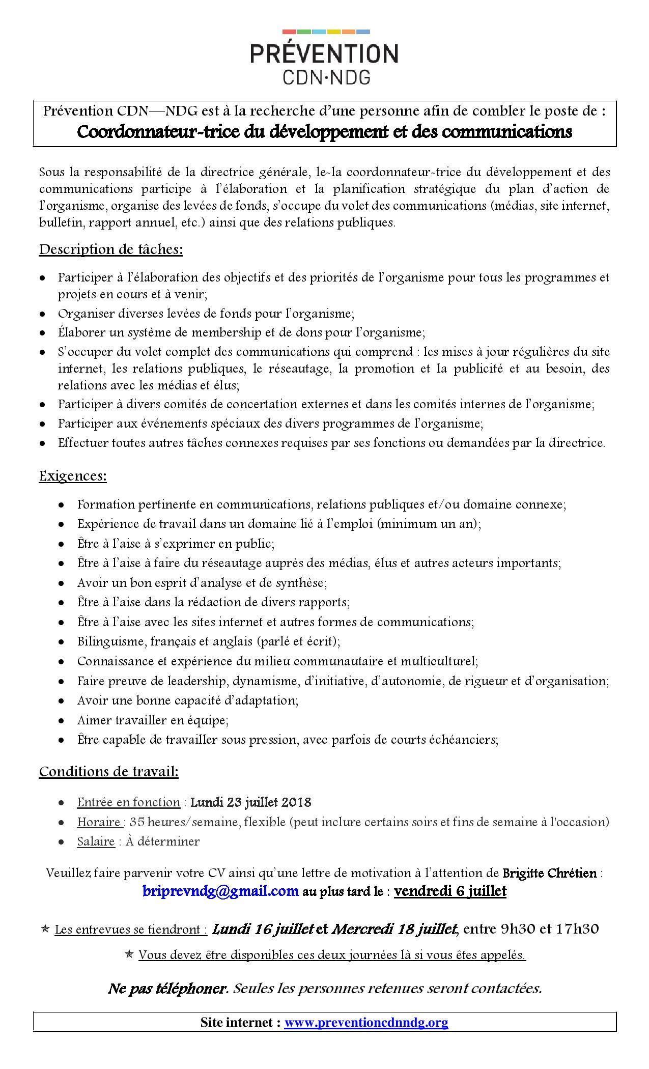 Offre D Emploi Job Offer Prevention Cdn Ndg